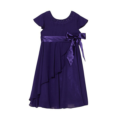 Tigerlily - Girl+s purple cap sleeved rosebud dress