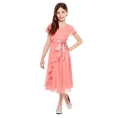 Tigerlily - Girl+s pink cap sleeved rosebud dress