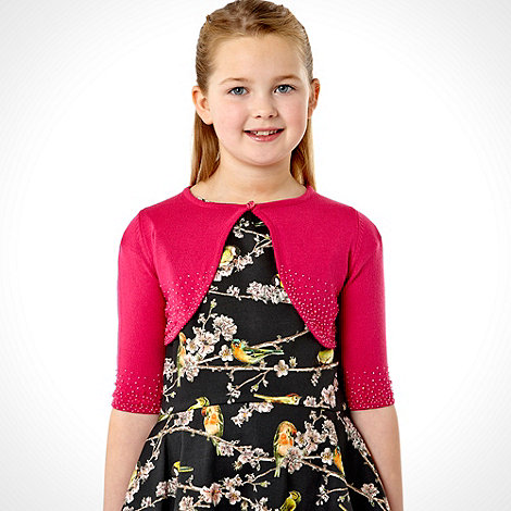 Tigerlily - Girl+s pink cropped beaded cardigan