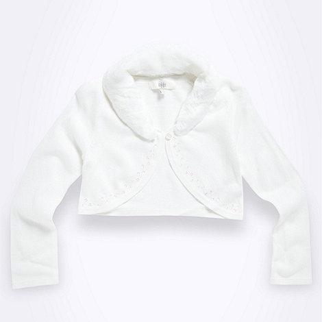 Tigerlily - Girl+s ivory faux fur cardigan