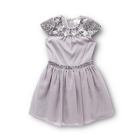 Butterfly by Matthew Williamson - Designer girl+s taupe sequin yoke dress