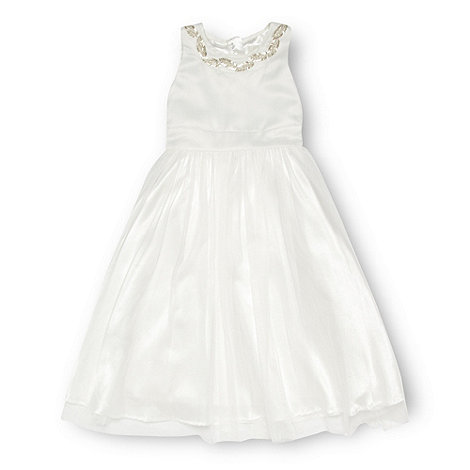 Pearce II Fionda - Designer girl+s ivory beaded neck occasion dress