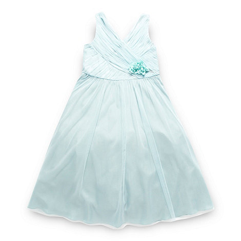 No. 1 Jenny Packham - Designer girl+s aqua corsage prom dress