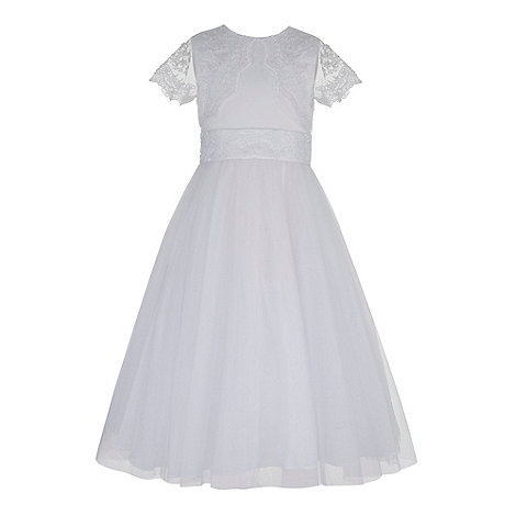 Pearce II Fionda - Designer girl+s white communion embroidered mesh dress