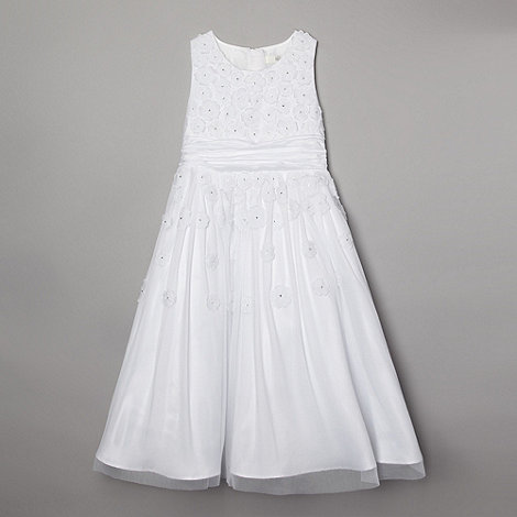 Pearce II Fionda - Designer girl+s white applique flower communion dress