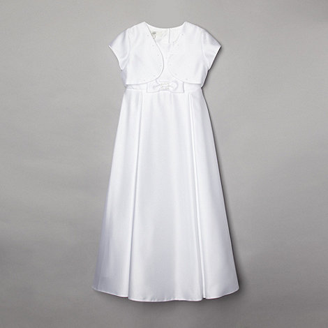 Pearce II Fionda - Designer girl+s ivory diamante communion dress and bolero