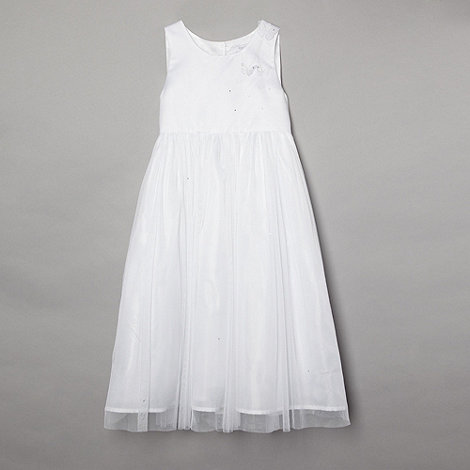 Tigerlily - Girl+s embellished white floaty butterfly mesh dress