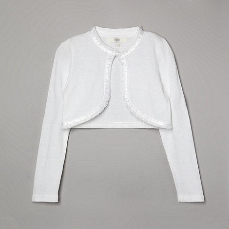 Pearce II Fionda - Designer girl+s white embellished ribbon trim cardigan