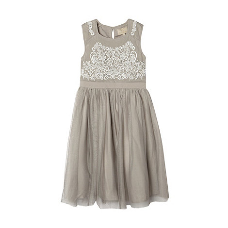 No. 1 Jenny Packham - Designer girl+s silver beaded bodice occasion dress