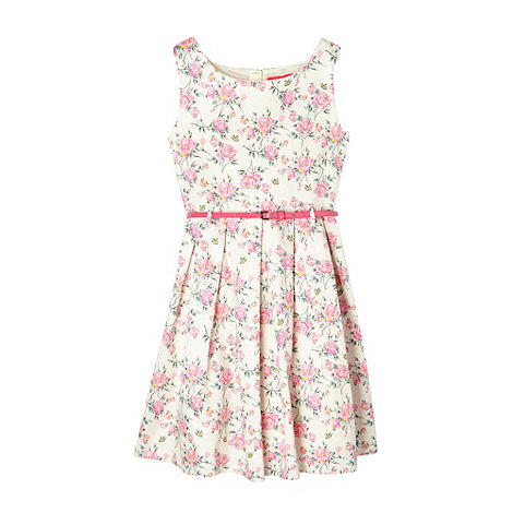 Piknik - Girl+s off white rose printed belted prom dress