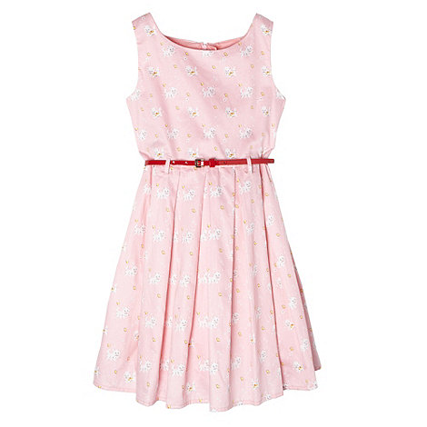 Piknik - Girl+s pink kitten printed belted dress