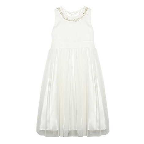 Pearce II Fionda - Designer girl+s ivory embellished bead neck dress
