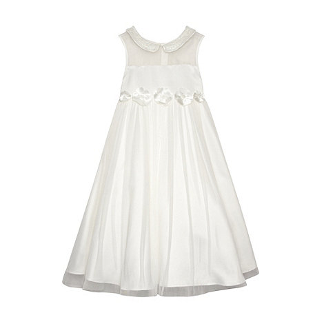 Pearce II Fionda - Designer girl+s ivory beaded collar occasion dress