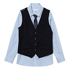 bluezoo - Boy's navy woven waistcoat, shirt and tie set