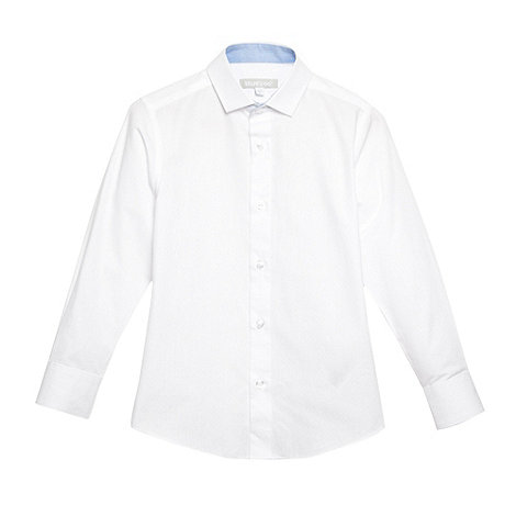 bluezoo - Boy's white textured spot long sleeved shirt