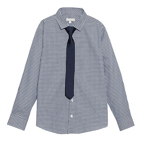 bluezoo - Boy's navy gingham shirt and tie