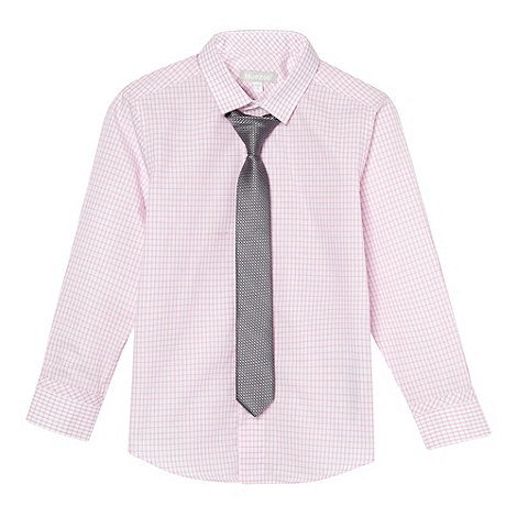 bluezoo - Boy+s pink gingham shirt and tie set