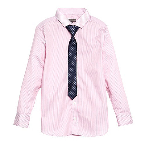RJR.John Rocha - Designer boy+s pink striped shirt and tie set