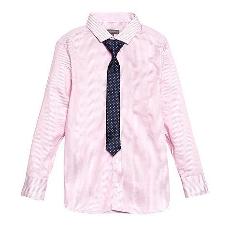 RJR.John Rocha - Designer boy+s pink striped shirt and tie set