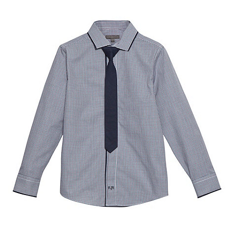 RJR.John Rocha - Designer boy+s navy mini checked shirt and tie set