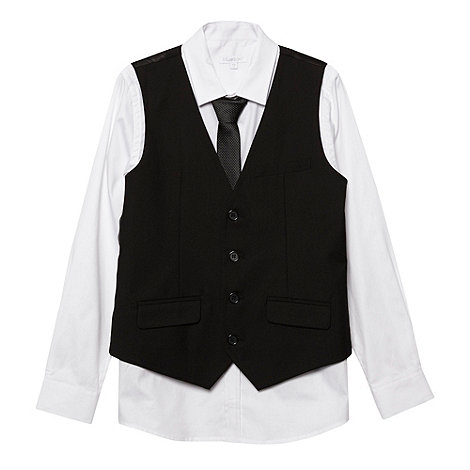 bluezoo - Boy+s black waistcoat, shirt and tie set