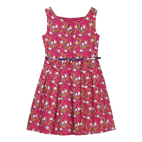 Piknik - Girl's pink songbird print belted prom dress