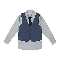 RJR.John Rocha - Boys' blue textured waistcoat, shirt and tie set