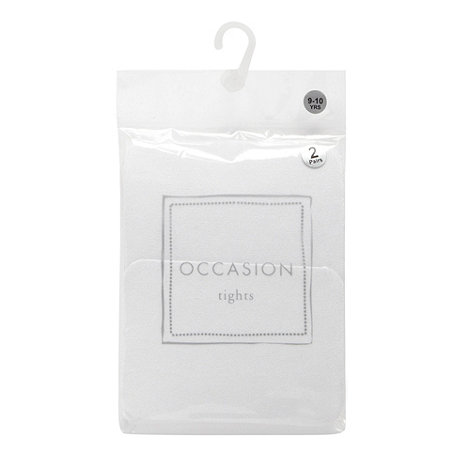 Debenhams - Girl+s pack of two pretty white opaque tights