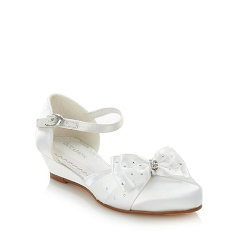 Debenhams - Girl+s white satin sparkly diamante bow shoes