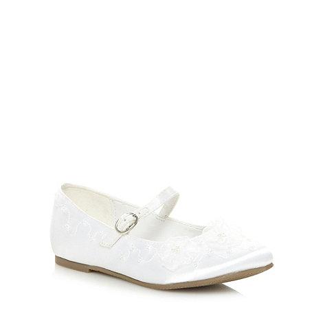 Debenhams - Girl+s white organza flower communion shoes
