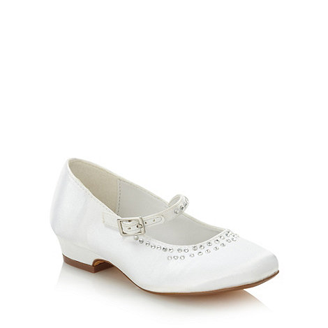 Debenhams - Girl+s white embellished diamante trim satin pumps