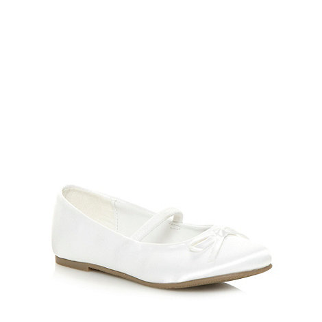 Debenhams - Girl's white satin ballet pumps