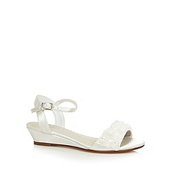 Debenhams - Girl's ivory satin floral trim sandals