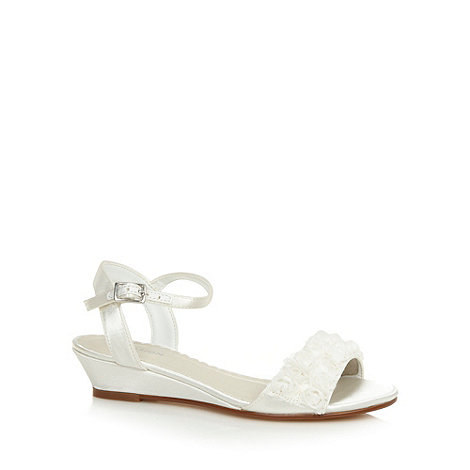 Debenhams - Girl+s ivory satin floral trim sandals
