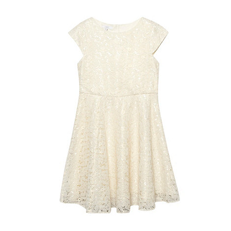 Tigerlily - Girl+s gold metallic all over lace dress