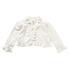Pearce II Fionda - Designer girl's ivory frill beaded cardigan
