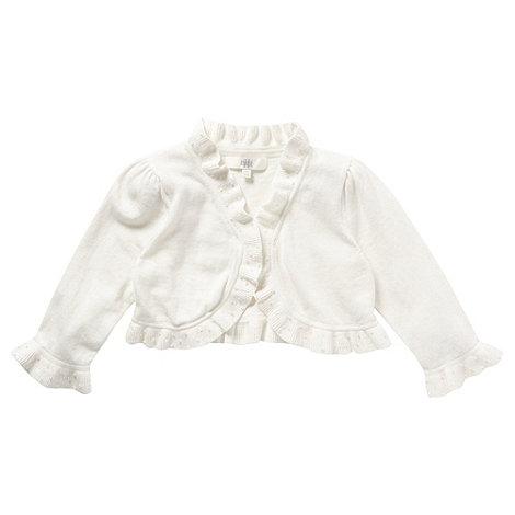 Pearce II Fionda - Designer girl+s ivory frill beaded cardigan