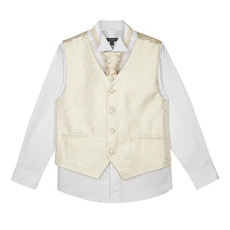 RJR.John Rocha - Designer boy+s gold satin floral waistcoat, shirt and tie set