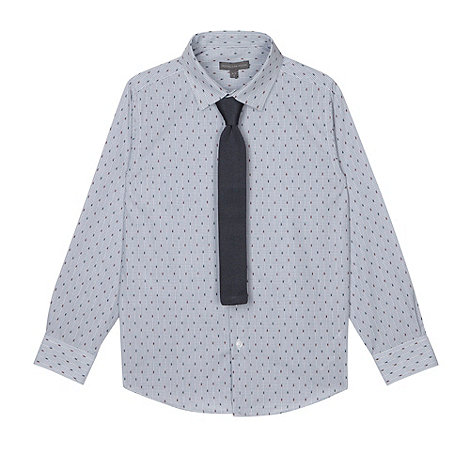 RJR.John Rocha - Designer blue textured shirt with knitted tie