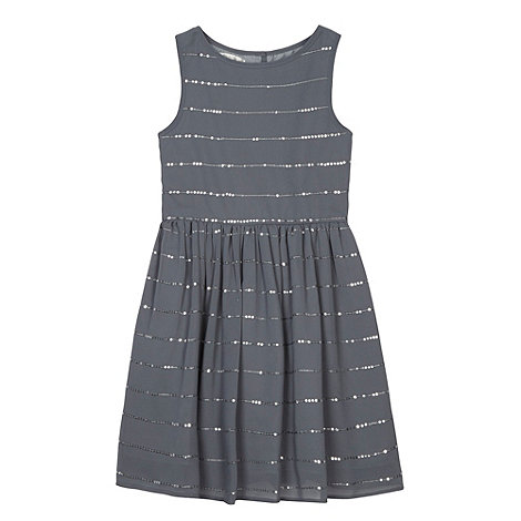 Debenhams - Designer girl+s silver sequin dress