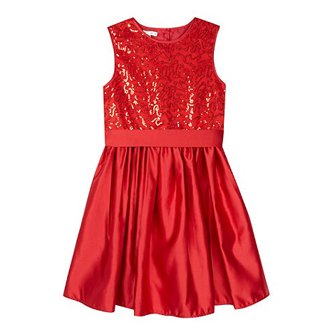 Debenhams - Designer girl+s red sequin bodice dress