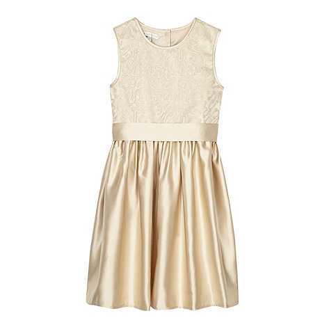 Debenhams - Designer girl+s light gold sequin bodice dress