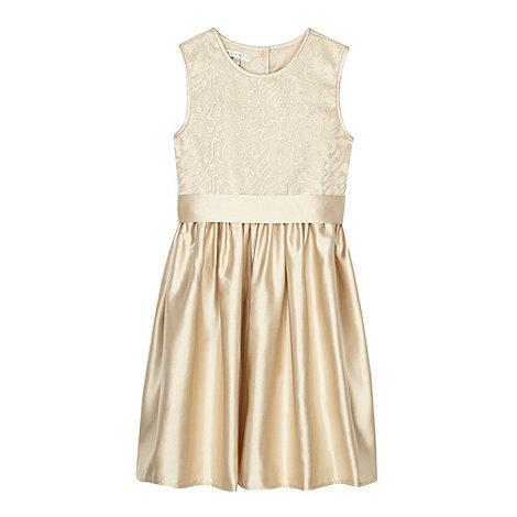Debenhams - Designer girl+s light gold sequin bodice dress
