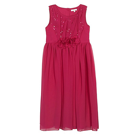 Debenhams - Designer girl's dark pink chiffon sequin dress