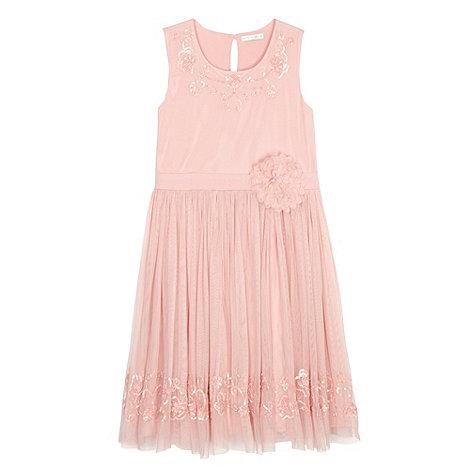 Debenhams - Designer girl+s light pink beaded net dress