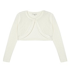 Debenhams - Designer girl's ivory sequin trim cardigan