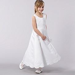 Pearce II Fionda - Designer girl's white scallop edge dress