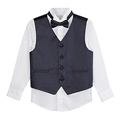 RJR.John Rocha - Designer boy's navy waistcoat, shirt and bow tie