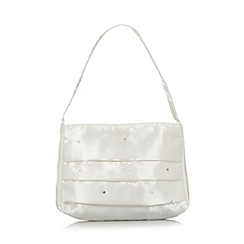 Debenhams - Girl's ivory embellished satin handbag