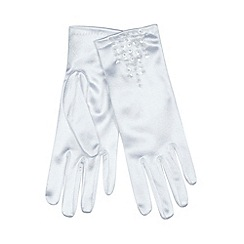 Debenhams - Girl's white beaded gloves